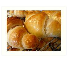 freshly baked croissants Art Print