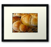 freshly baked croissants Framed Print