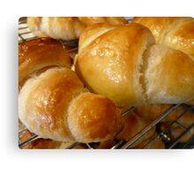 freshly baked croissants Canvas Print