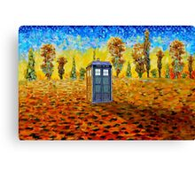 Blue phone booth at fall grass field painting Canvas Print