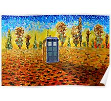 Blue phone booth at fall grass field painting Poster