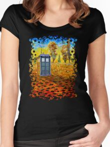 Blue phone booth at fall grass field painting Women's Fitted Scoop T-Shirt
