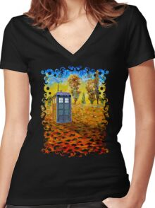 Blue phone booth at fall grass field painting Women's Fitted V-Neck T-Shirt