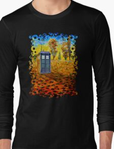 Blue phone booth at fall grass field painting Long Sleeve T-Shirt
