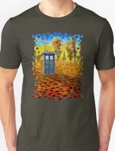 Blue phone booth at fall grass field painting T-Shirt