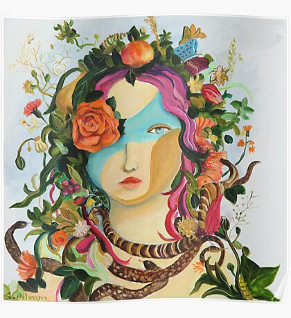 Woman- mask-Flower Poster