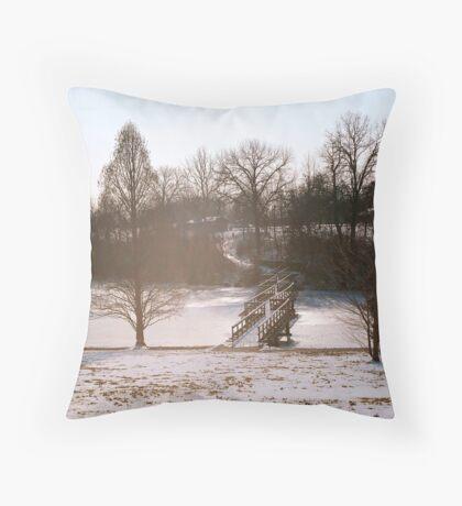 Frozen Bridge Throw Pillow