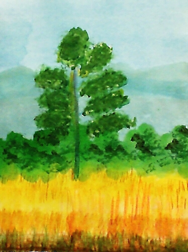 Big Pine alone in field, watercolor by Anna  Lewis, blind artist