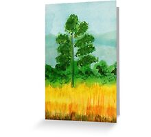 Big Pine alone in field, watercolor Greeting Card
