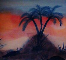 Palms on a hill at sunset,(darker version) Series #2, watercolor by Anna  Lewis, blind artist