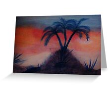 Palms on a hill at sunset,(darker version) Series #2, watercolor Greeting Card