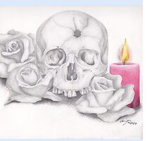Skull with Roses and Candle by BonesToAshes
