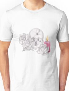 Skull with Roses and Candle Unisex T-Shirt