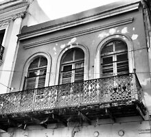 Old Building with a Balcony, Black and White by Rosalie Scanlon