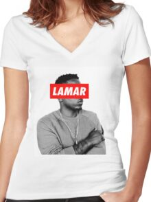 "Kendrick Lamar ""LAMAR"" OBEY Style Women's Fitted V-Neck T-Shirt"