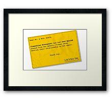 Lacuna Reminder Framed Print