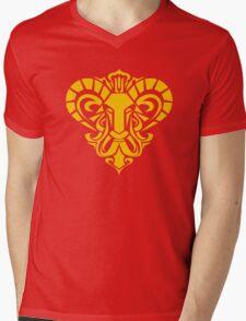Zodiac Sign Aries Gold Mens V-Neck T-Shirt