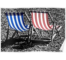 Deckchairs in Brighton Poster