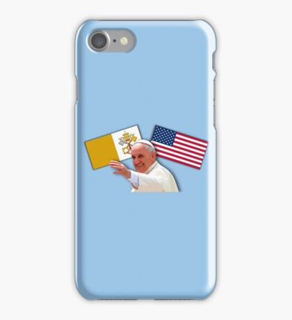 Pope with flags 1 iPhone Case/Skin