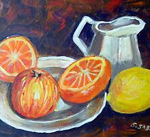 Still life with fruit and jug by Saga Sabin
