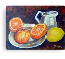 Still life with fruit and jug Canvas Print