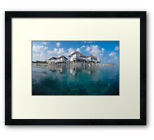 Half in, half out - Maldives reef houses Framed Print