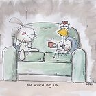Evening in with Rabbit and Chicken by Will Charlesworth
