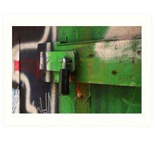 lock painted with green graffiti Art Print