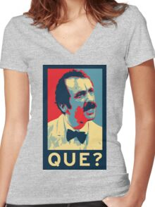 QUE? Women's Fitted V-Neck T-Shirt