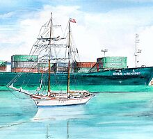 Past meets Present (San Pedro Harbor) by Rob Beilby