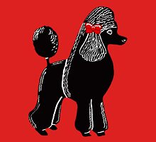 Black Standard Poodle with a Red Bow Womens Fitted T-Shirt