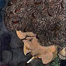 36 - BOB DYLAN - DAVE EDWARDS - COLOURED PENCILS & INK - 1981 by BLYTHART
