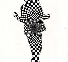 64 - GEOMETRIC DANCER - DAVE EDWARDS - INK - 1983 by BLYTHART