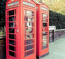 Red Phone Booths in the Spring by Cheryl LaPrade