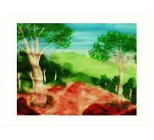 Looking out to the valley on stroll, watercolor Art Print