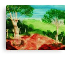 Looking out to the valley on stroll, watercolor Canvas Print