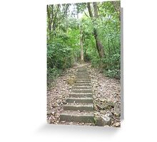 steep windy granite steps into lush enchanting jungle Greeting Card