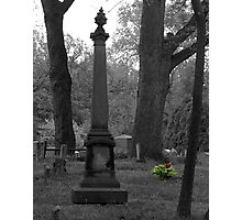 Tombstone with Flowers Photographic Print