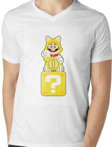 Lucky Cat Mario Mens V-Neck T-Shirt