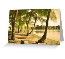 Close to Home - Palm trees lake side Greeting Card