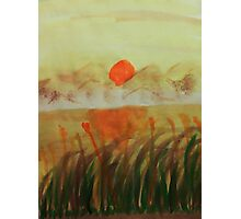 Sunset over the reeds by lake, watercolor Photographic Print