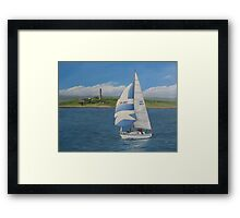 Yachting past Scattery Framed Print