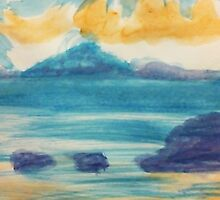 Blue Ocean scene, watercolor by Anna  Lewis
