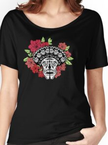 Skull with red and pink flowers. Women's Relaxed Fit T-Shirt