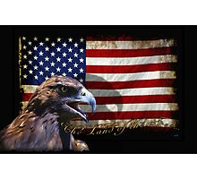 The Land of the Free Patriotic Eagle & Flag Photographic Print