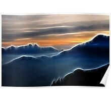 Brilliant mountain sunset in blue Poster