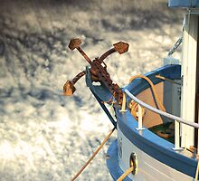 Boat with anchor in the sky by Jasna