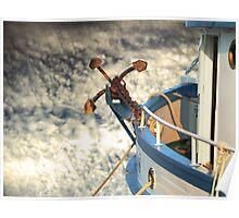 Boat with anchor in the sky Poster