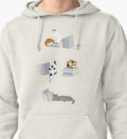 Cats Love Books Pullover Hoodie