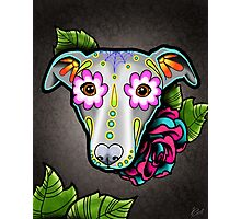 Day of the Dead Whippet / Greyhound Sugar Skull Dog Photographic Print